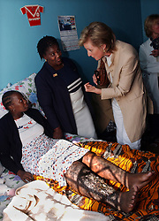 JOHANESBURG, SOUTH AFRICA - APRIL-28-2004 -&#xA;Princes Astrid of Belgium makes a home visit to a woman in the Soweto Township of Johanesburg. The woman is HIV positive and can not go see the doctor because of her badly infected leg, which is a symptom of her AIDS . (PHOTO © JOCK FISTICK)&#xA;&#xA;<br />