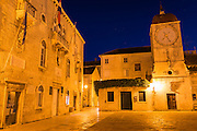 Church of St. Maria de Platea at night, old town Trogir, Dalmatian Coast, Croatia