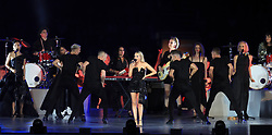 Samantha Jade performs on stage during the Closing Ceremony for the 2018 Commonwealth Games at the Carrara Stadium in the Gold Coast, Australia.