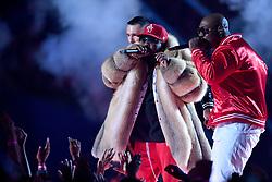 Adam Levine of Maroon 5, Big Boi, Sleepy Brown perform during the Pepsi Super Bowl LIII Halftime Show at Mercedes-Benz Stadium on February 3, 2019 in Atlanta, Georgia. Photo by Lionel Hahn/ABACAPRESS.COM