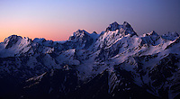 Russia, Caucasus, mountain panorama before sunrise. Highest mountain is Ushba (4710 m asl) just on the Georgian side of the border.
