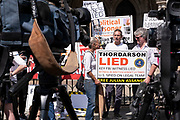 Scene outside the Royal Courts of Justice as protesters gather in support of Julian Assange during his latest High Court hearing on 11th August 2021 in London, United Kingdom. Following Judge Vanessa Baraitser's earlier ruling that he was a 'suicide risk' if extradited to the US, she denied his extradition. Today, the court ruled that the United States can resume it's appeal to extradite Assange, against this decision. Assange has been held in prison since his conviction in 2019 following approximately 7 years claiming political asylum in the Ecuadorian Embassy in London.
