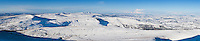 Winter panoramic view from Corn Du west towards Black Mountain, Brecon Beacons national park, Wales