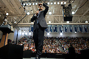 US President Barack Obama looks for an audience member to call on during a town hall meeting in Rio Rancho, New Mexico, USA, on 14 May 2009. Obama called on Congress to pass tougher regulation over the credit card industry.