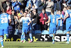 Peterborough United's Jon Taylor celebrates the opening goal - Photo mandatory by-line: Joe Dent/JMP - Mobile: 07966 386802 - 07/03/2015 - SPORT - Football - Peterborough - ABAX Stadium - Peterborough United v Leyton Orient - Sky Bet League One