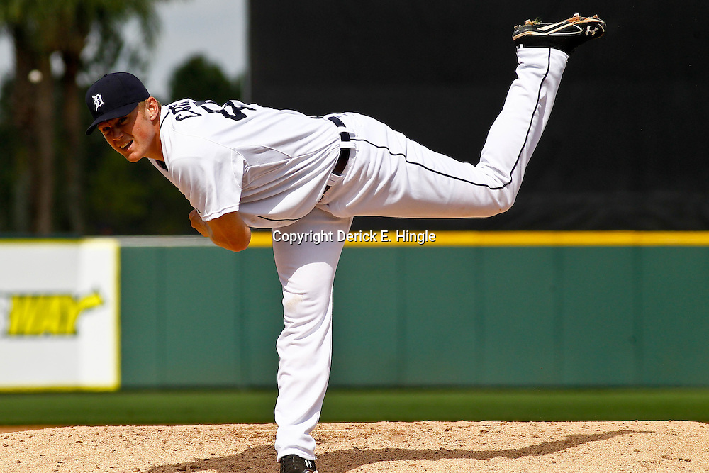 March 10, 2011; Lakeland, FL, USA;Detroit Tigers starting pitcher Casey Crosby (45) throws against the Washington Nationals during a spring training game at Joker Marchant Stadium. Mandatory Credit: Derick E. Hingle-US PRESSWIRE