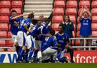 Photo: Jed Wee.<br />Sunderland v Leicester City. Coca Cola Championship. 16/09/2006.<br /><br />Leicester players celebrate their goal.