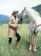 We photographed our model with a horse in Aspen for a fashon catalog, combining beautiful landscape with great fashion.