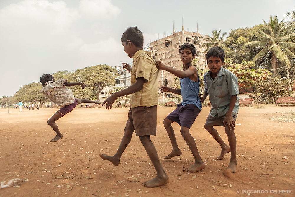 Young boys goof off for the camera naer Hospet, India