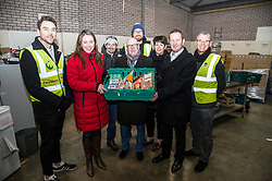 Pictured: Aileen Campbell, Kevin Stewart, Elena Whitham and Jon Sparkes were joined by volunteers (some up from London) at the depot.<br /> <br /> Today, Communities Secretary Aileen Campbell was joined by Councillor Elena Whitham, Cosla Community Wellbeing Spokesperson, Kevin Stewart, Minister for Local Government, Housing and Planning and Jon Sparkes Chief Executive of Crisis as she visited Cyrenians' Good Food depot where she met staff at the depot and toured the facility which redistributes surplus food to not-for-profit organisations. <br /> <br /> Ger Harley | EEm 27 November 2018