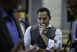 October 8, 2018 - Albuquerque, New Mexico, U.S. - In a major announcement held Monday afternoon at the Albuquerque Studios, Netflix buys ABQ Studios for a billion dollars.  Pictured is RAJIV DALAL of Netflix listens during an interview.  (Credit Image: © Roberto E. Rosales/Albuquerque Journal via ZUMA Wire)