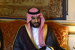 """File photo - French Foreign Affairs Minister Jean-Marc Ayrault receives Saudi Deputy Crown Prince Mohammed Bin Salman Bin Abdelaziz Al Saud (also known as MBS), at the """"Quai d'Orsay"""" ministry in Paris, France on June 27, 2016. A new Saudi anti-corruption body has detained 11 princes, four sitting ministers and dozens of former ministers, media reports say. The detentions came hours after the new committee, headed by Crown Prince Mohammed bin Salman, was formed by royal decree. Photo by Ammar Abd Rabbo/ABACAPRESS.COM  