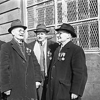 R4381<br /> Three brothers, survivors of the 1916 Rising, The Black and Tan War at the Jacobs Garrison. April 3 1966.<br /> (Part of the Independent Newspapers Ireland/NLI Collection)