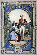 Queen Victoria (1819-1900) crowned 28 June 1838. Shown here with Prince Albert as a youthful married couple both wearing the blue ribbon of the Order of the Garter. Coloured lithograph.