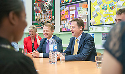 ***STRICT EMBARGO UNTIL 12:01AM 13/06/14*** © Licensed to London News Pictures. 12/06/2014. Carshalton, UK. (L-R) David Laws, Nick Clegg. Deputy Prime Minister and leader of the Liberal Democrats, Nick Clegg, visits Carshalton High School for Girls in Surrey today 12th June 2014. He was joined by Schools Minister David Laws and local Liberal Democrat MP Tom Brake.  Photo credit : Stephen Simpson/LNP