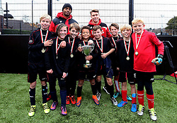 BCCT EFL Kids Cup winners Hengrove pose for a picture with Mark Little and Luke Freeman of Bristol City - Mandatory by-line: Robbie Stephenson/JMP - 23/11/2016 - FOOTBALL - South Bristol Sports Centre - Bristol, England - BCCT EFL Kids Cup