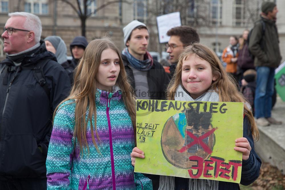 Berlin, Germany - 08.02.2019<br /> <br /> Fridays for Future rally in Berlin. Students protest with their weekly climate strike against coal-energy and for climate protection measures.<br /> <br /> Fridays for Future Kundgebung in Berlin. Schuelerinnen und Schuler protestieren mit ihrem woechentlichen Klimastreik gegen Kohleengie und fuer Klimaschutzmaßnahmen.<br /> <br /> Photo: Bjoern Kietzmann