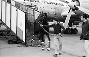 Arrival of the racehorse Torus to take part in the Irish St. Leger at the Curragh. the race was won by  Nijinski The mount of Willie Carson.<br /> 11/10/1979