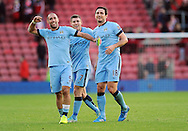 Frank Lampard of Manchester City celebrates with team mate Pablo Zabaleta of Manchester City at the end of the game<br /> - Barclays Premier League - Southampton vs Manchester City - St Mary's Stadium - Southampton - England - 30th November 2014 - Pic Robin Parker/Sportimage