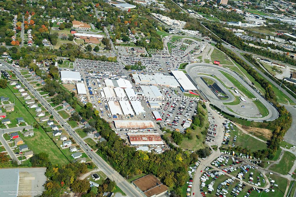 Aerial photo of the Nashville fairgrounds showing the Music City Motorplex during a flea market.
