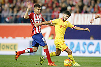 Atletico de Madrid's Angel Correa (l) and Sporting de Gijon's Nacho Cases during La Liga match. November 8,2015. (ALTERPHOTOS/Acero)