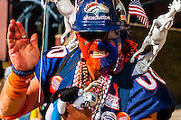 The Broncnator, Denver Broncos Super Bowl 50 Victory Parade, Downtown Denver, Colorado USA.