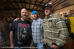 Bill Dodge with friends at his Bling's Cycles party during the Daytona Bike Week 75th Anniversary event. FL, USA. Wednesday March 9, 2016.  Photography ©2016 Michael Lichter.