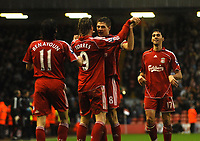 Photo: Paul Greenwood/Sportsbeat Images.<br />Liverpool v Bolton Wanderers. The FA Barclays Premiership. 02/12/2007.<br />Liverpool's Fernando Torres (second left) is congratulated by captain Steven Gerrard