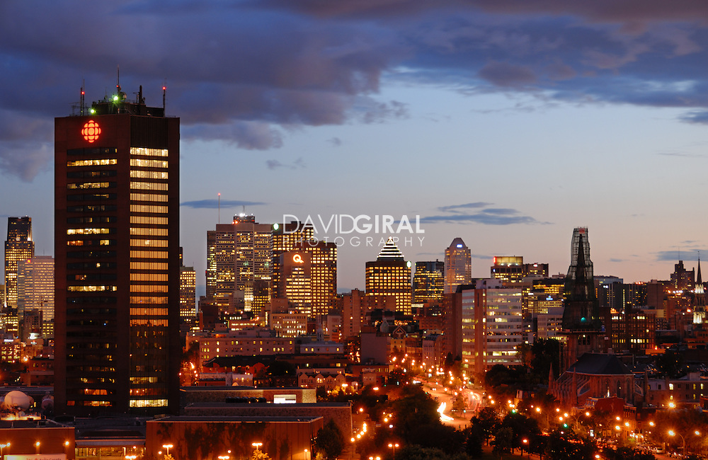 Picture of Montreal skyline as viewed from pont Jacques-Cartier Bridge