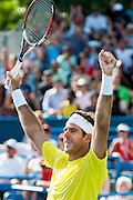 Argentina's Juan Martin Del Potro reacts after defeating USA's John Isner during their men's final singles match at the Citi Open ATP tennis tournament in Washington, DC, USA, 4 Aug 2013. Del Potro won the final 3-6, 6-1, 6-2.