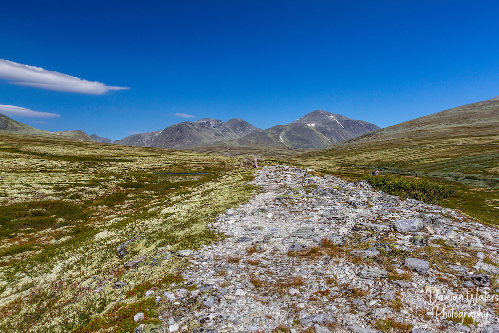 Hiker's path at Rondane National Park, Norway - August