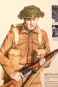 Display board picture of Second World War soldier 1939-1945 with permission of Chippenham museum, Wiltshire, England, UK