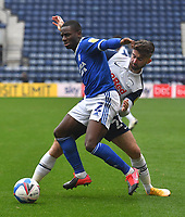 Preston North End's Sean Maguire battles with Cardiff City's Jordi Osei-Tutu<br /> <br /> Photographer Dave Howarth/CameraSport<br /> <br /> The EFL Sky Bet Championship - Preston North End v Cardiff City - Sunday 18th October 2020 - Deepdale - Preston<br /> <br /> World Copyright © 2020 CameraSport. All rights reserved. 43 Linden Ave. Countesthorpe. Leicester. England. LE8 5PG - Tel: +44 (0) 116 277 4147 - admin@camerasport.com - www.camerasport.com