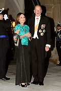 Gala dinner on the occasion of the civil wedding of Grand Duke Guillaume and Princess Stephanie at the Grand-Ducal palace in Luxembourg <br /> <br /> On the photo: King Simeon and Margarita