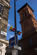Tall architecture of St Patrick's Roman Catholic Parish Church and colourful pigeons in Soho Square, central London.