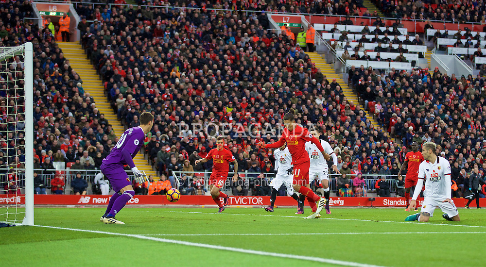 LIVERPOOL, ENGLAND - Sunday, November 6, 2016: Liverpool's Roberto Firmino scores the fourth goal against Watford during the FA Premier League match at Anfield. (Pic b2y David Rawcliffe/Propaganda)