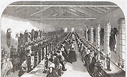 Pen slitting room, Hinks, Wells & Co., factory, Birmingham. From 'The Illustrated Midland News', 22 February 1851. Women employed in mass production of goods and performing a single process in the production of a finished item.