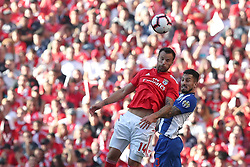 October 7, 2018 - Lisbon, Portugal - Benfica's Suisse forward Haris Seferovic (L) heads the ball with Porto's Brazilian defender Alex Telles during the Portuguese League football match SL Benfica vs FC Porto at the Luz stadium in Lisbon on October 7, 2018. (Credit Image: © Pedro Fiuza/ZUMA Wire)