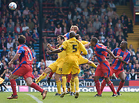 Photo: Daniel Hambury.<br />Crystal Palace v Burnley. Coca Cola Championship. 26/08/2006.<br />Palace's James Scrowcroft (at back, hidden) scores. 2-2.