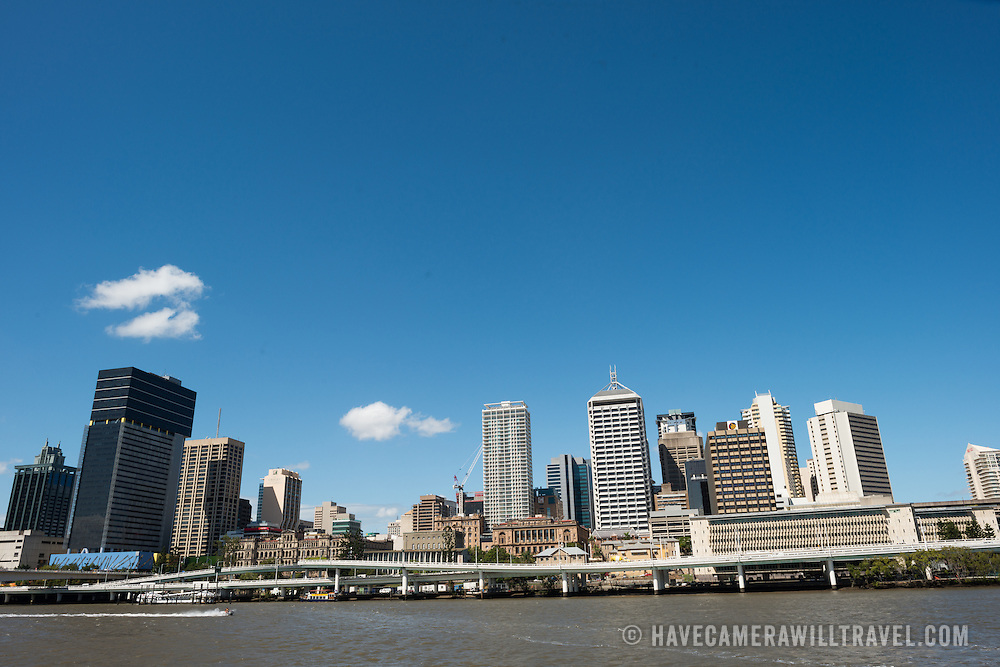 Brisbane city skyline from across the Brisbane River at South Bank on a clear sunny summer's day.
