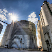 Sunshine in February at the grain silos on Highway 50 and Main, Stafford, Kansas.