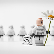 A 'love' concept created using lego Star Wars figures, photographed a part of a series of images in the Hype photography studio by commercial and adverting photographer Stuart Freeman.