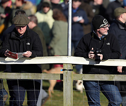 Former Prime Minister David Cameron (left) attends the Cocklebarrow races near Chippenham in Wiltshire.