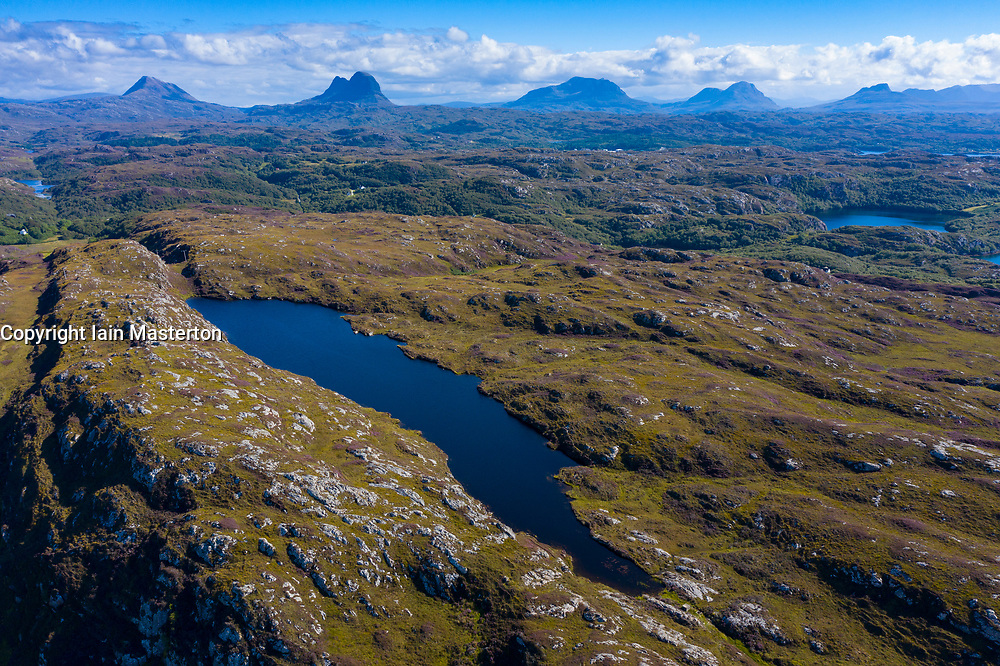 Aerial view of mountains in Assynt Coigach region of Scottish Highlands, Scotland, UK