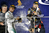 HAMILTON Lewis (Gbr) Mercedes Gp Mgp W05 ambiance portrait VETTEL Sebastian (Ger) Red Bull Renault Rb10 ambiance portrait RICCIARDO Daniel (Aus)<br />  Formula One World Championship, Singapore Grand Prix from September 19th to 21th 2014 in Singapour.<br /> F1<br /> <br /> Norway only
