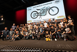 All of the trophy winners on stage at the AMD World Championship of Custom Bike Building awards ceremony in the Intermot Customized hall during the Intermot International Motorcycle Fair. Cologne, Germany. Sunday October 7, 2018. Photography ©2018 Michael Lichter.