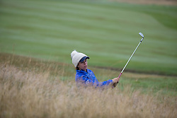 Great Britain's Georgia Hall has to play from the fairway bunker at the 16th during her Semi Final match with Sweden this morning during day eleven of the 2018 European Championships at Gleneagles PGA Centenary Course. PRESS ASSOCIATION Photo. Picture date: Sunday August 12, 2018. See PA story GOLF European. Photo credit should read: Kenny Smith/PA Wire. RESTRICTIONS: Editorial use only, no commercial use without prior permission
