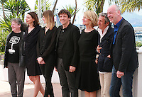 Lisa Nesselson, Sophie Grassin, Helena Klotz, Gilles Gaillard, Nicole Garcia, Richard Anconina and Philippe Van Leeuw at the photo call for the Camera d'Or Jury at the 67th Cannes Film Festival, Saturday 17th May 2014, Cannes, France.