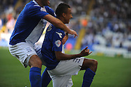 Birmingham City's Jesse Lingard celebrates ® after scoring his sides 1st goal during the Skybet championship match, Birmingham city v Sheffield Wednesday at St.Andrews in Birmingham, England on Sat 21st Sept 2013. pic by Jeff Thomas/Andrew Orchard sports photography
