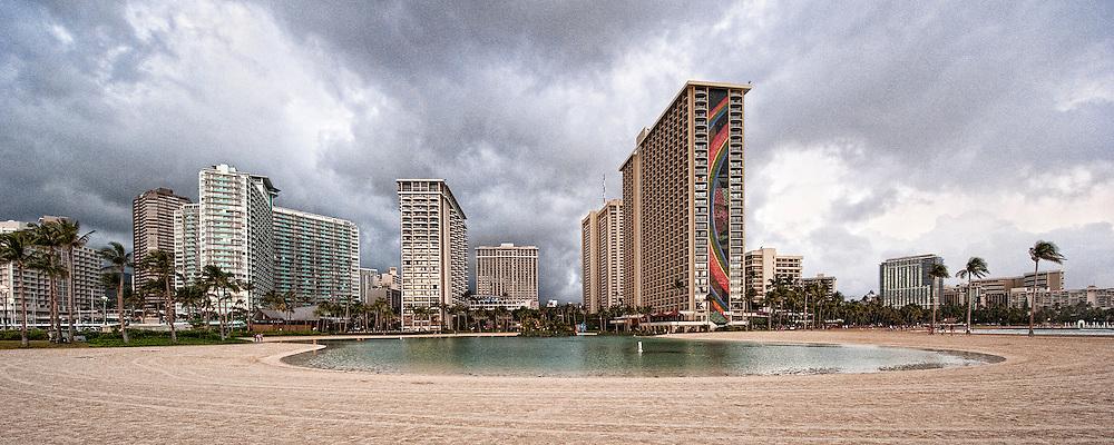The Hilton Hawaiian Village Lagoon and the Ilikai in Waikiki.